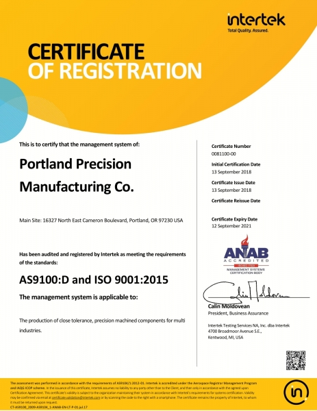 AS9100 D Certificate of Registration